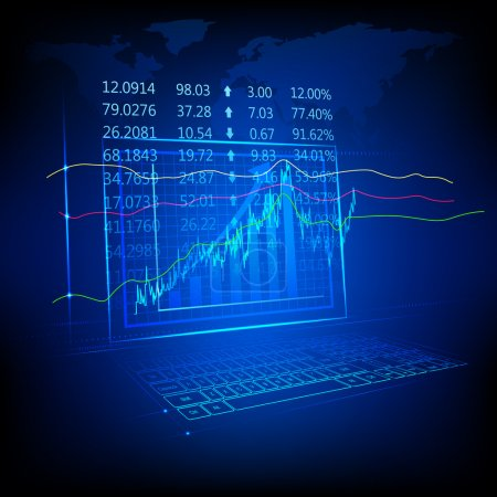 Illustration of graph and number showing stock mar...
