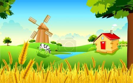 Illustration for Illustration of landscape of golden wheat farm showing green revolution - Royalty Free Image