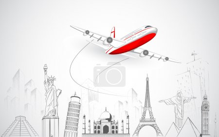 Illustration for Illustration of airplane flying over sketch of famous monument - Royalty Free Image