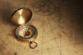 Kompas na staré papírové pozadí
