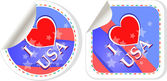 Heart logo I love USA stickers label set