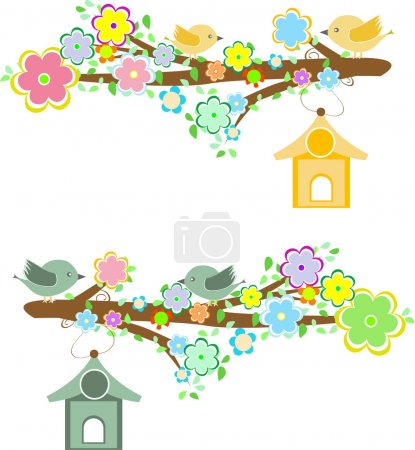 Family of birds sitting on a branch with birdhouses