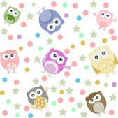 Bright background with cute owls stars circles Seamless pattern