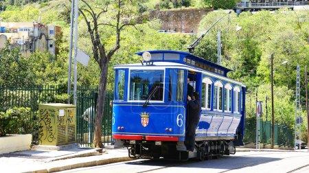 Blue streetcar of the Tibidabo in Barcelona...