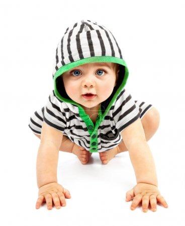 Photo pour Beau garçon isolé sur fond blanc, doux petit bébé portant des sliders rayés, charmant petit enfant en sweat à capuche noir et blanc avec biggin rampant à l'intérieur, conception d'enfance heureuse - image libre de droit