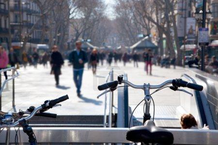 Barcelona Ramblas street life from bicycles...