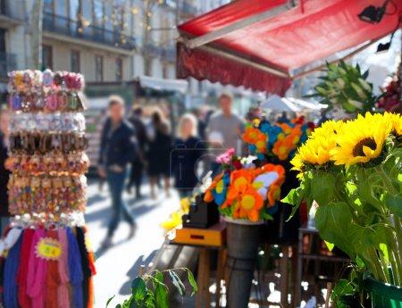 Barcelona Ramblas street life from flowers market...