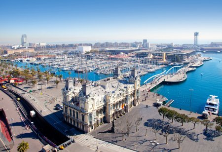 Aerial Barcelona port marina view