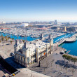 Aerial Barcelona port marina view in Plaza de colo...