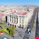 Aerial panoramic Barcelona view Port Passeig Colon...