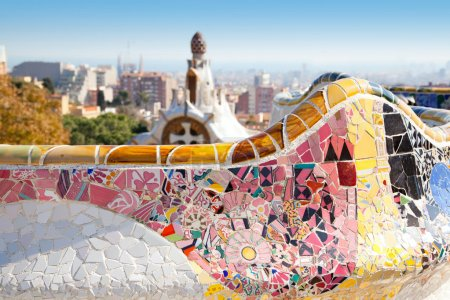 Barcelona Park Guell of Gaudi tiles mosaic serpent...