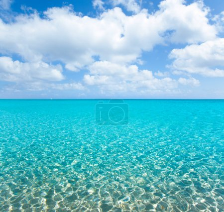 Photo for Beach tropical with white sand and turquoise water under blue sky - Royalty Free Image