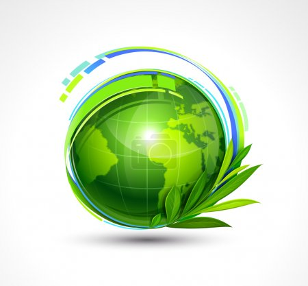 Illustration for Green Planet on white background. Vector illustration - Royalty Free Image