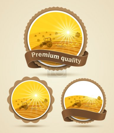 Illustration for Cereal harvest label. Vector illustration - Royalty Free Image