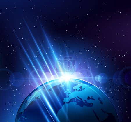 Illustration for Planet earth in the bright rays of light. Vector illustration - Royalty Free Image