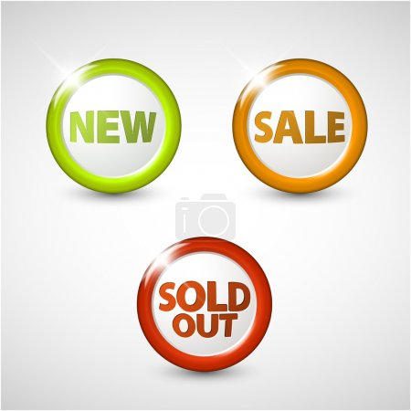 Vector round 3D icons for sale, new and sold out items