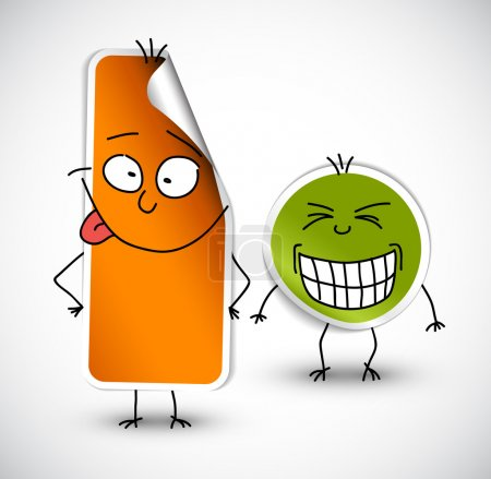 Illustration for Vector funny stickers with smiling face green and orange - Royalty Free Image