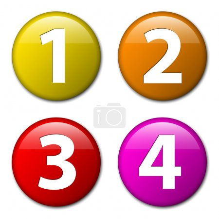 One two three four - vector badges with numbers