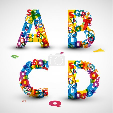 Illustration for Vector font made from color letters of the alphabet - Royalty Free Image