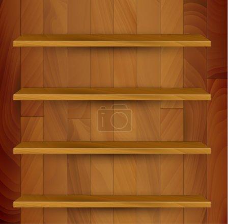 Vector wooden empty realistic bookcase