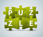 Vector puzzle lettering - made from puzzle pieces