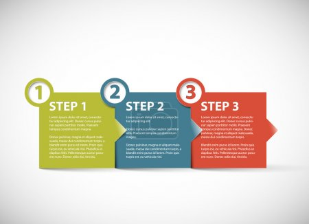 Illustration for One two three - vector paper retro progress steps for tutorial - Royalty Free Image