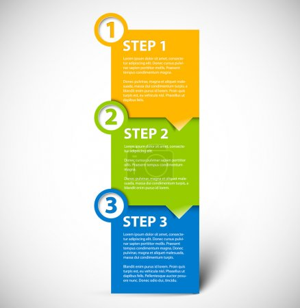 Illustration for One two three - vector paper progress steps for tutorial - Royalty Free Image