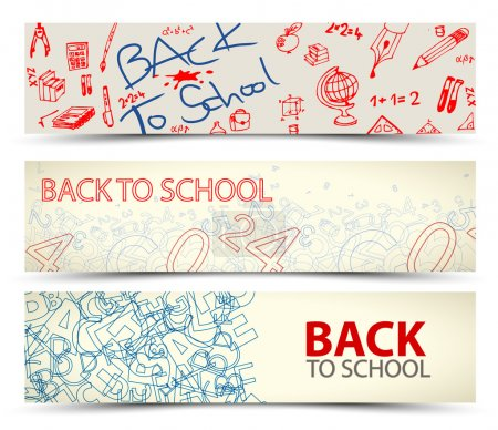 Illustration for Back to School vector banners with drawings, doodles and letters - Royalty Free Image