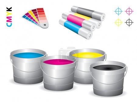 Vector print shop icon set - cmyk