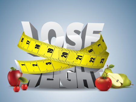 Illustration for Lose weight text with measure tape and fruits - Royalty Free Image