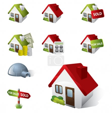 Illustration for 3D Real Estate Business Icon Set - Royalty Free Image