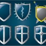 Metallic shiny shields set...
