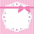 Pink frame with bow and beads on striped backgroun...