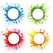 4 Abstract Bubble With Blobs Set Isolated On White Background Vector Illustration