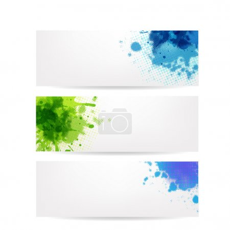 Illustration for 3 Banners With Blobs, Isolated On White Background, Vector Illustration - Royalty Free Image