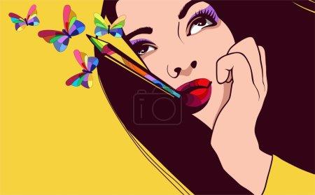 Illustration pour Illustration vectorielle d'une jolie fille avec papillons couleurs de cheveux et de la fantaisie - image libre de droit