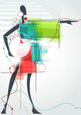 Fashion background The abstract figure of a girl in a dress Eps10