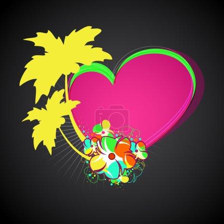 Tropical background. Vector palms, flowers, heart, sun.