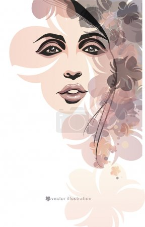 Girl and flowers. Fashion illustration
