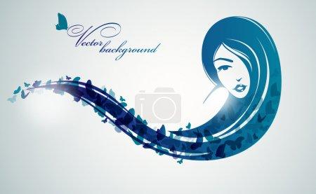 Illustration pour Fille avec des papillons dans les cheveux longs . - image libre de droit