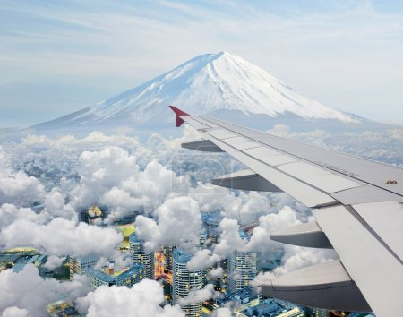 Surreal view of Mt.Fuji view from air plane
