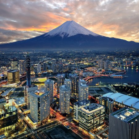 Photo for Surreal view of Yokohama city and Mt. Fuji - Royalty Free Image