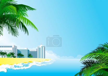 Vector background with tropical palms and hotel bu...