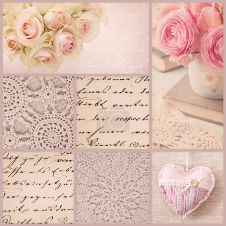 Photo for Vintage collage with roses and old letters - Royalty Free Image