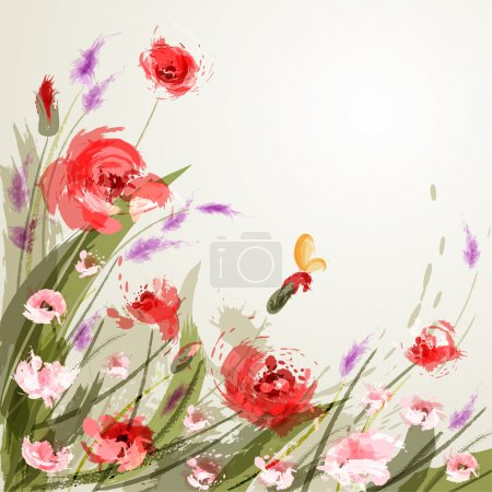 Background with meadow flowers. Poppy...