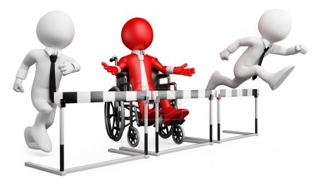 3D businessman white . Barriers at work for disabled