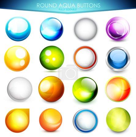 Set of colorful aqua buttons