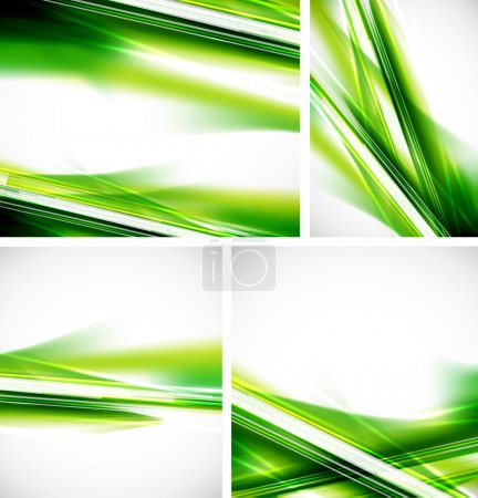 Illustration for Green natural abstract vector background set. Straight lines - Royalty Free Image