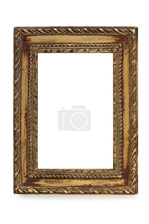 Photo pour Doré cadre photo chic minable sur fond blanc. - image libre de droit