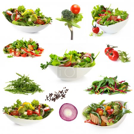 Photo for Collection of salads, isolated on white. Includes green salad, garden salad, greek salad, chicken salad, and ingredients. - Royalty Free Image